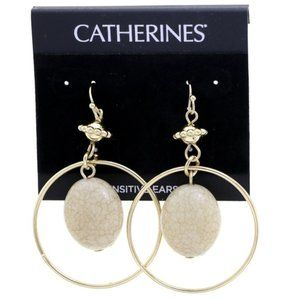 Catherine gold circle and stone dangle earrings